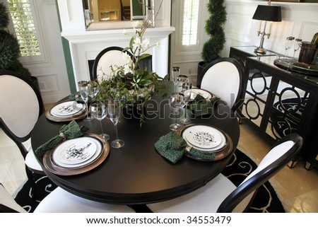 Luxury Home Decor on Dining Table With Luxury Home Decor  Stock Photo 34553479