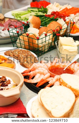 Dinner buffet of appetizers - stock photo