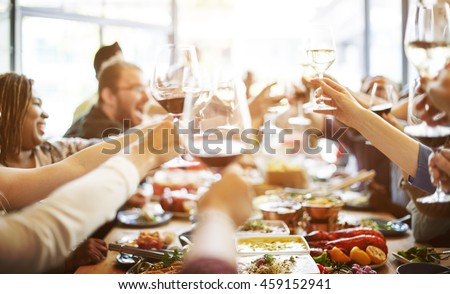 Dinner Dining Wine Cheers Party Concept - Shutterstock ID 459152941