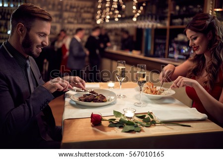 Dinner for couple in restaurant with good food-concept
