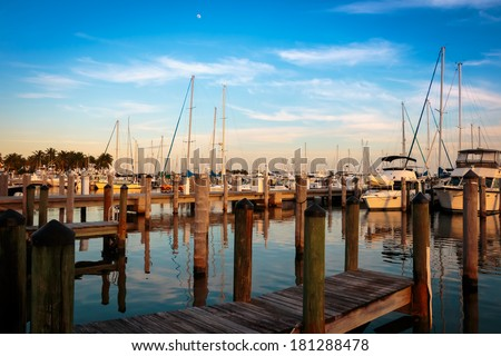 Dinner Key Marina in the Coconut Grove district of Miami Florida