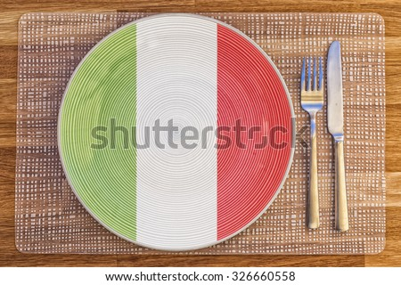 Dinner plate with the flag of Italy on it for your international food and drink concepts.