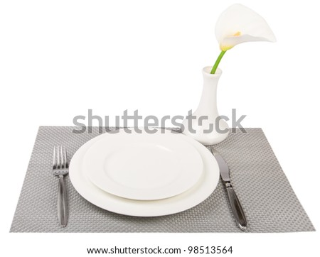 dinner plates and set isolated on white
