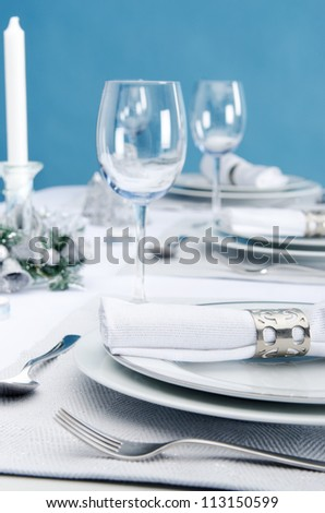 Dinner Service Christmas Table Place Plate Setting Decoration In Cool ...