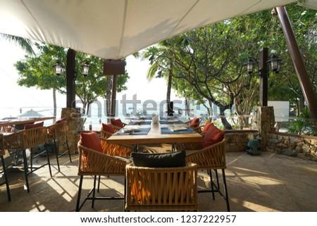 dinner set near the sea and beautiful seascape views #1237222957