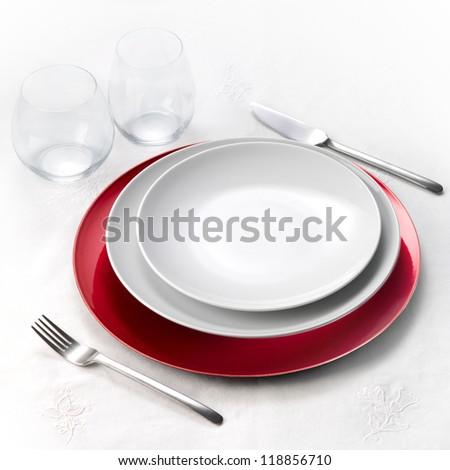 Dinner set on white tablecloth #118856710