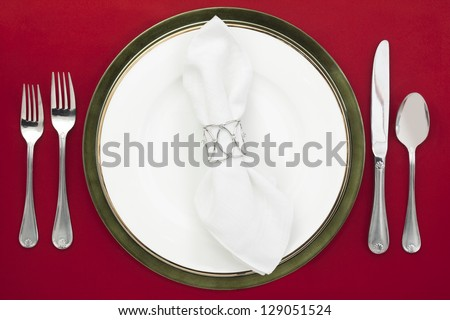 Dinner setting in a top view image