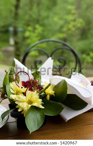 Dinner table in the garden, flowers and napkins on it