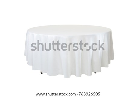 Dinner table isolated on white background, round party table.