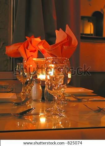 Dinner table setting in a restaurant