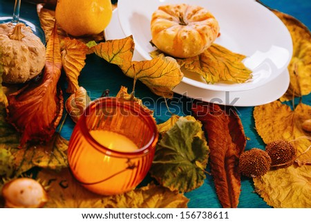 Dinner table with autumn decoration.