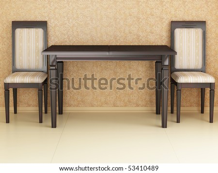 Dinner table with two chairs, 3d interior
