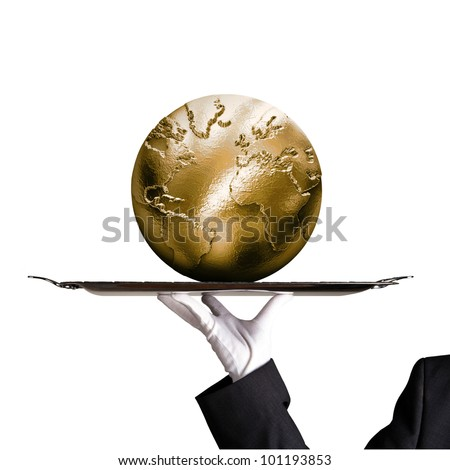 Dinner tray world globe gold