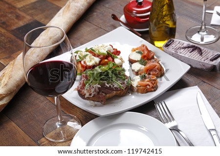 Dinner with wine