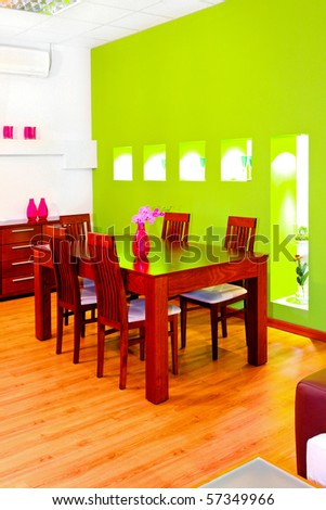 Dinning room in retail space of furniture shop
