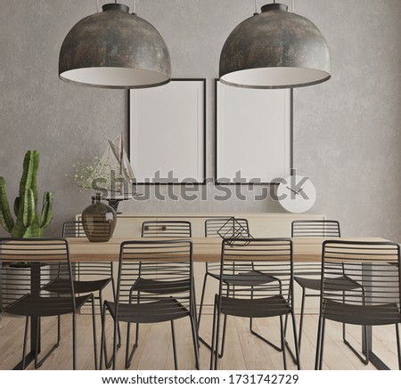 dinning room with mock up poster frame. 3D rendering Stock photo ©