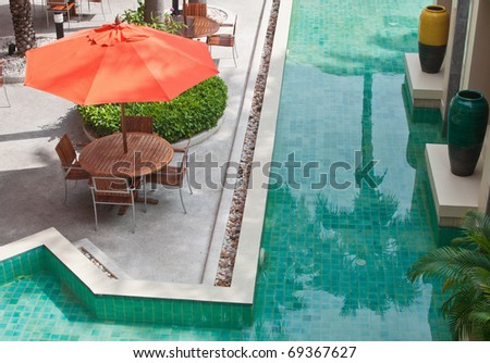 Dinning table beside swimming pool