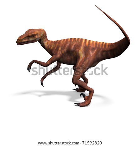 Dinosaur Deinonychus. 3D rendering with clipping path and shadow over white