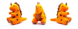 Dinosaur doll isolated on white background.