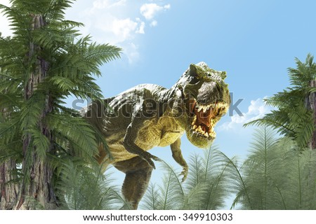 stock photo dinosaur in the jungle background d render 349910303 - Каталог — Фотообои «Животные»