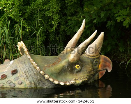 Dinosaur in water, close up