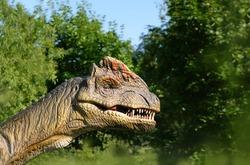 dinosaur on nature background. portrait of dinosaur outdoor. decor animal in dino park. copy space