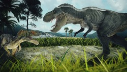 dinosaur scene of the two dinosaurs fighting each