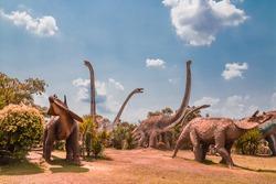 Dinosaur stucco at public garden in thailand