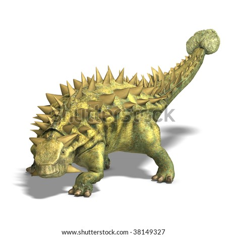 Dinosaur Talarurus. 3D render with clipping path and shadow over white