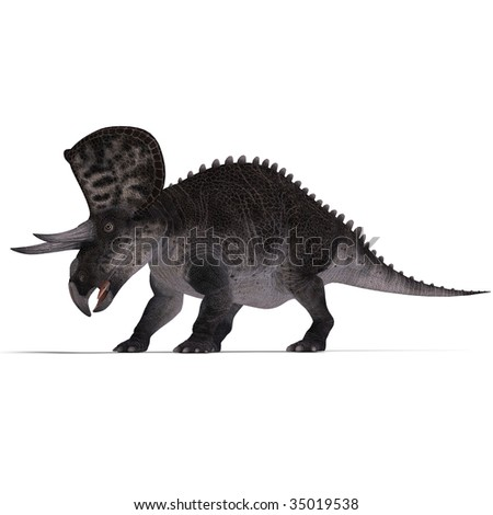 Dinosaur Zuniceratops. 3D render with clipping path and shadow over white