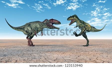 Dinosaurs Giganotosaurus and Bistahieversor Computer generated 3D illustration