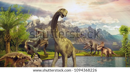 Dinosaurs in the park by the lake