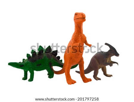 Dinosaurs. Isolated plastic toy dinosaurs standing and posing on white background. #201797258