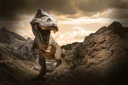 Dinosaurs model on rock mountain background