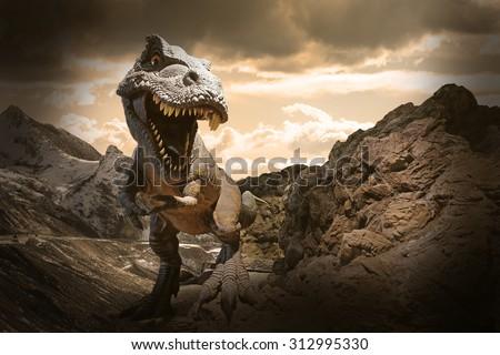 stock photo dinosaurs model on rock mountain background 312995330 - Каталог — Фотообои «Животные»