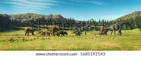Dinosaurs on the valley . This is a 3d render illustration . Stock foto ©