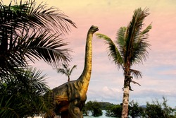 dinosaurs portrait.Sauropods Dinosaur  on beautiful landscape background.