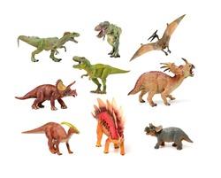 dinosaurs toys on white background