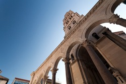 Diocletian palace ruins and cathedral bell tower, Split, Croatia.