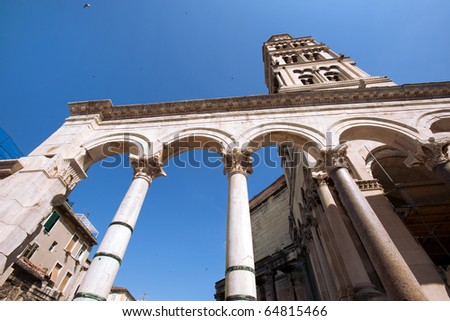Diocletian palace ruins and cathedral bell tower, Split, Croatia