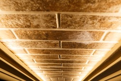 diode illumination of a decorative brick. Modern interior lighting