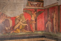 Dionysian Mysteries (Bacchian Mysteries) depicted in the Roman frescos in the triclinium (Roman dining room) in the Villa of the Mysteries (Villa dei Misteri) in the archaeological site of Pompeii (Po