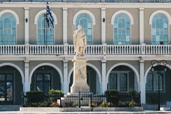 Dionysios Solomos' statue at Dionysios Solomos Square