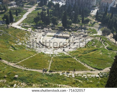 Dionysus ancient theater under Acropolis, Athens Greece