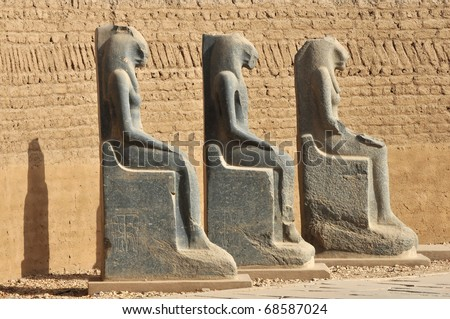 Diorite statues of Sekhmet lion headed goddess at the ancient Egyptian temple of Amun at Karnak, Luxor in Egypt