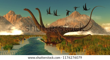 Diplodocus Dinosaur Afternoon 3D illustration - A herd of Diplodocus dinosaurs bring their youngsters to a small stream for a drink in the Jurassic Period of North America.