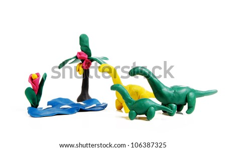 Diplodocus Family goes to pond: funny kids plasticine craft