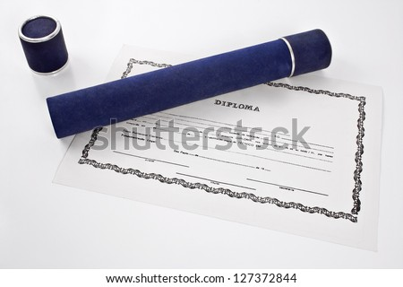 Diploma and blue tube on white background