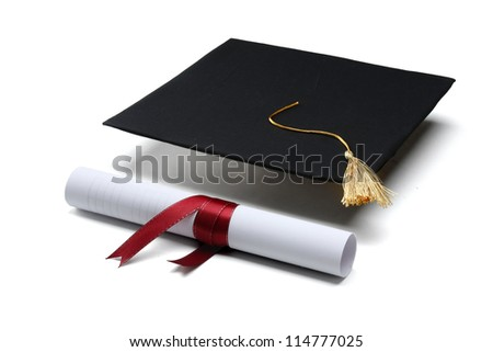 diploma and graduation cap isolated on white background - stock photo