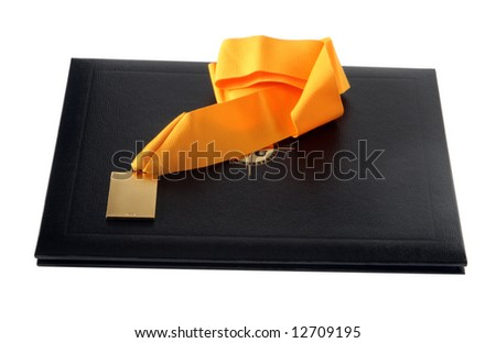 Diploma and medal, isolated on white background